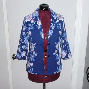 Izaac Mizrahi Live Blue Floral Blazer Jacket S